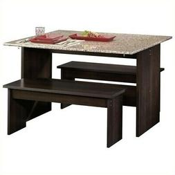 Sauder Beginnings Drop Leaf Table With Benches in Cinnamon C