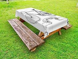 Lunarable Bicycle Outdoor Tablecloth, Ride Your Bike