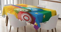 Bingo Tablecloth by Ambesonne 3 Sizes Rectangular Table Cove
