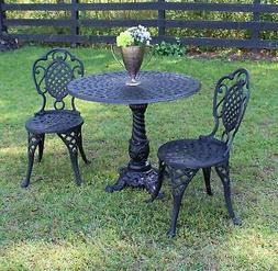 Bistro Set of Two Chairs and Table for Garden Porch or Resta