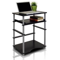 Black Laptop Computer Desk W/ Keyboard Tray Small Space Home