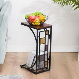 C-Shape Sofa Side Table Snack Table for Living Room End Tabl