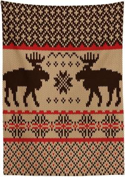 Lunarable Cabin Outdoor Tablecloth, Knitted Swatch With Deer