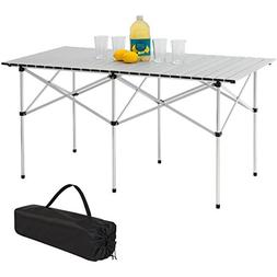 "Camping Portable Aluminum 55"" Roll-Up Picnic Table W/ Carryi"