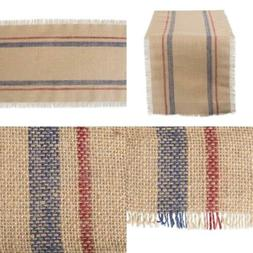 """DII CAMZ10549 Table Runner, 14x72"""", Double Stripe Blue & Red"""