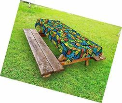 Lunarable Casino Outdoor Tablecloth, Colorful Domino Pattern