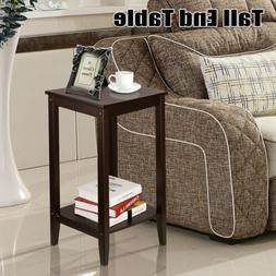 Chair Side Table Narrow Tall End Table Small Space Bed Sofa