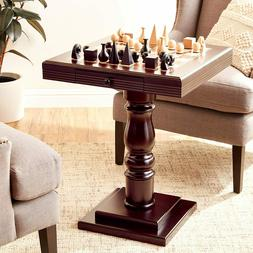 cherry wooden chess pedestal table with drawer