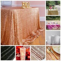 Choose Size Colors Rectangle Sequin Tablecloth for Party Wed