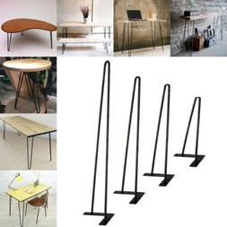 """Coffee Metal Table Hairpin Legs 16""""- 28"""" Set of 4 3/8"""" Solid"""