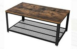 Coffee Table for Living Room, Wood Accent Furniture w/ Metal