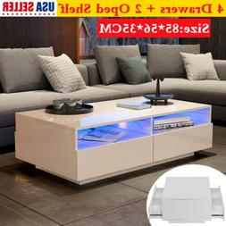 Coffee Table w/4 Drawers White Rectangle Coffee Table for Li