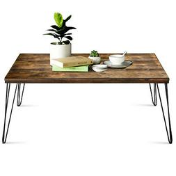 Coffee Table w/ Wooden Design Metal Legs Large Tabletop for