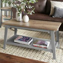 Coffee Table with Shelf Natural Wood Grain Top Gray Legs Rus