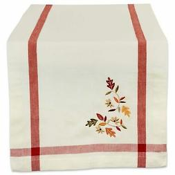 DII 100% Cotton Table Runner Fall Leaves with Corner Border,