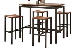 Counter Height Dining Set 5 Piece Wood Metal Pub Table 4 Cha