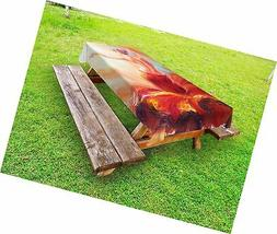 Lunarable Country Outdoor Tablecloth, Painting of a Dancing