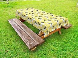 Lunarable Dandelion Outdoor Tablecloth, Bees on