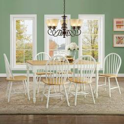 Dining Room Table Set 6 Seat Farmhouse Solid Wood Kitchen Ta