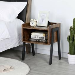 End Side Table for Small Spaces Accent Wood Nightstand Bedro