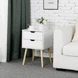 End Side Tables Nightstand with 2 Storage Drawers Living Roo