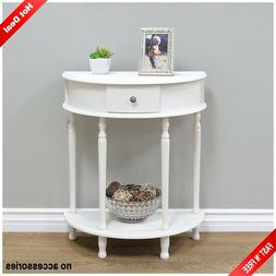 End Table White Storage Living Room Half Round Tables Moon D