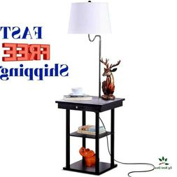 End Table With Lamp Floor Led Bright Nightstand Shelves Mode