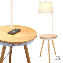 End Table With Lamp Floor Nightstand Led Bright Modern USB B