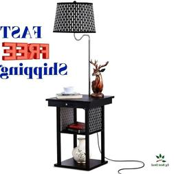 End Table With Lamp Nightstand Led Floor Bright Shelves Mode