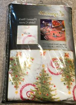 Exquisite Platinum Flannel Back Table Cover Christmas Trees