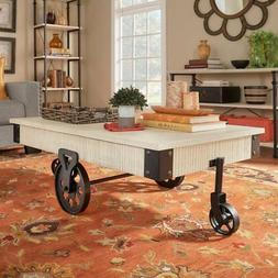 Weston Home Factory Metal Supports Cocktail Table with Funct