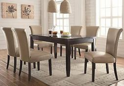 FAUX MARBLE DINING TABLE & 6 TAUPE LEATHERETTE CHAIRS DINING