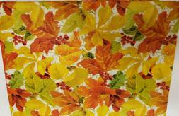 """FLANNEL BACK VINYL TABLECLOTH 52"""" x 70"""" OBLONG , FALL LEAVES"""