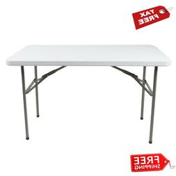 Folding Table 4ft Small Sturdy Heavy Duty Plastic Indoor Out