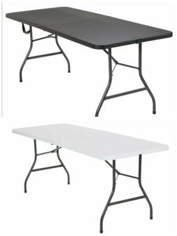 Folding Table 6 Ft Centerfold Portable Plastic Home Indoor O