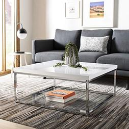Safavieh FOX2214A Malone Coffee Table White And Chrome NEW