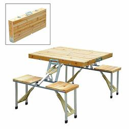 Wooden Camping Picnic Table Bench Seat Outdoor Portable Fold