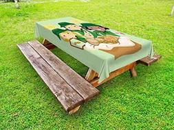 Lunarable Girl Scouts Outdoor Tablecloth,