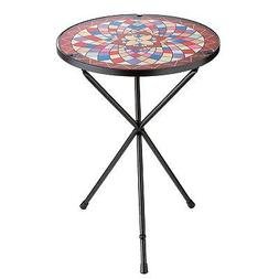 Darice Glass Floral Mosaic Side Table - Folding Iron Coffee