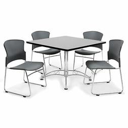 OFM Gray 42-inch Round Laminate Table with 4 Plastic Guest G