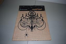 NEWBRIDGE HALLOWEEN BURLAP TABLE RUNNER BLACK CHANDELIER SPI