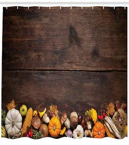 harvest shower curtain wooden table foods print