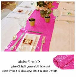 ShinyBeauty Hot Pink Table Runners Pack of 2 Home Decor Sequ