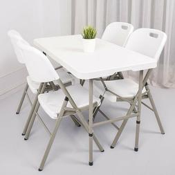Indoor Outdoor Portable Folding Dining Table W/ Handle Lock