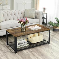 industrial accent coffee table with storage shelf