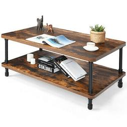 Industrial Coffee Table Rustic Accent Table Storage Shelf Li