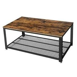 Industrial Coffee Table with Storage Shelf for Living Room,