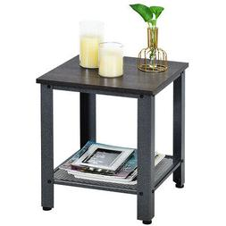 Industrial End Table 2-Tier Side Table W/Storage Shelf  Rust