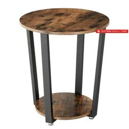 Vasagle Industrial End Table, Metal Side Table, Round Sofa T