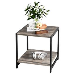 IRONCK Industrial 2-Tier End Table, Night Stand Side Table w